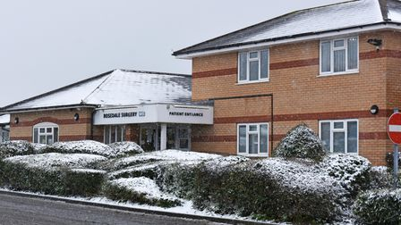 Rosedale Surgery in Ashburnham Way, Carlton Colville, in the snow.