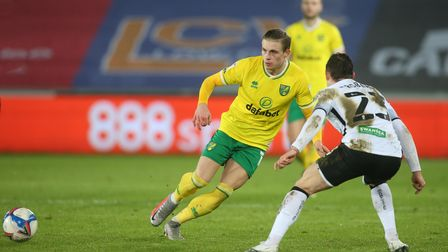 Przemyslaw Placheta of Norwich City during the Sky Bet Championship match at the Liberty Stadium, Sw