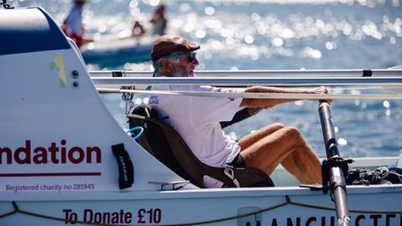 Frank Rothwell finished in a time of 56 days, 3 hours, 41 minutes to become the oldest person to row solo, unassisted...
