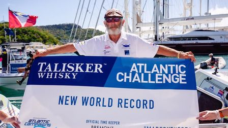 Frank Rothwell rowed across the Atlantic Ocean in a time of 56 days, 3 hours, 41 minutes