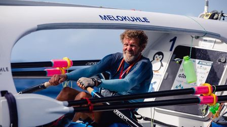 Grant Blakeway finishes his row across the Atlantic