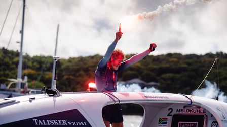 Celebrations as Grant Blakeway finishes his row across the Atlantic