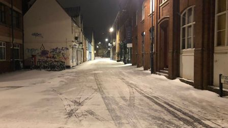 Norwich pictured in the snow and ice in the early hours of February 8, 2021.