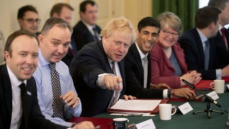 Boris Johnson (centre), alongside new Chancellor of the Exchequer Rishi Sunak (second right), Cabine