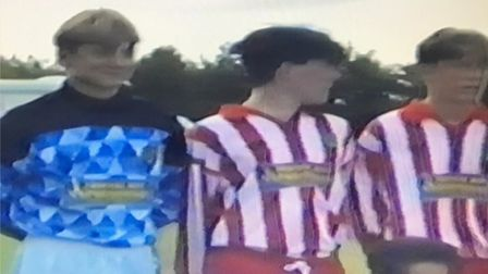 Footage from VHS tapes showing the red and white kit at a match vs Sunderland in 1994.