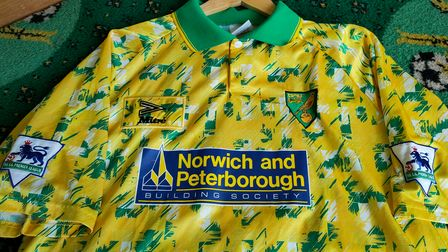 The egg and cress shirt worn in the 1993/94 season by Gary Megson.