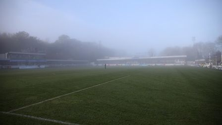 Foggy Crabble Athletic ground prior - Photo mandatory by-line: Dan Weir/Pinnacle