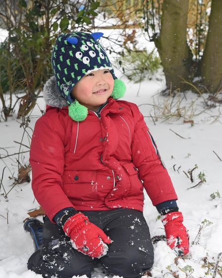 Matthew Lei, aged 5, playing in the snow in Chapelfield Gardens, Norwich. Picture: Danielle Booden