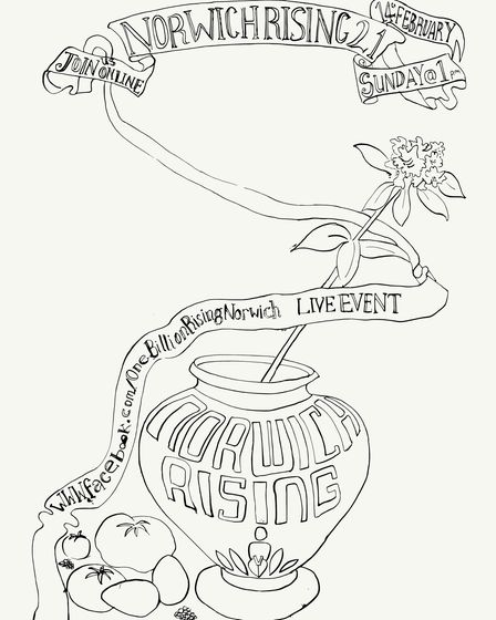 Norwich Rising's co-ordinator has created a drawing which people can print out and colour as part of the event.