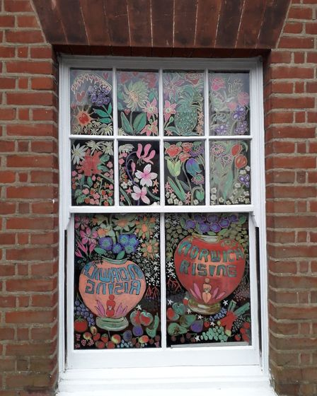 Eloise O'Hare has decorated her window ahead of the Norwich Rising event.