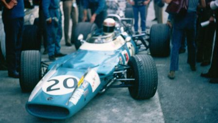 Jackie Stewart back in the pits after qualifying at Monza on September 6, 1969