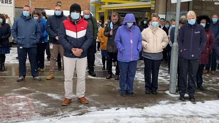 Friends, colleagues and members of Estrella Catalan's family attended the minute's silence at the Norfolk and Norwich University Hospital.