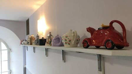 Donated teapots on display in the tea rooms at Oldway Mansion in Paignton