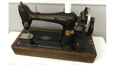 A Singer sewing machine on display in the tea rooms at Oldway Mansion in Paignton
