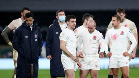 England rugby team after the loss to Scotland in February 2021