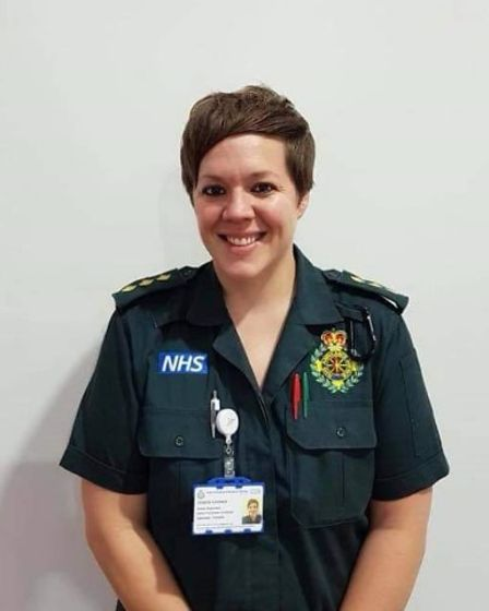 Vicky Lovelace-Collins in paramedic uniform