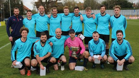 Wheathampstead 89 celebrate their Herts Ad Sunday League Junior Cup success in 2019.