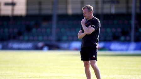 Saracens head coach Mark McCall watches over the warm up before the Gallagher Premiership match at A