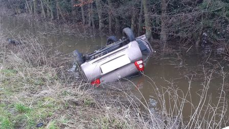A driver was taken to hospital after their car crashed andoverturned in a water-filled dyke on the A1101 at Sutton Road, Wisbech.