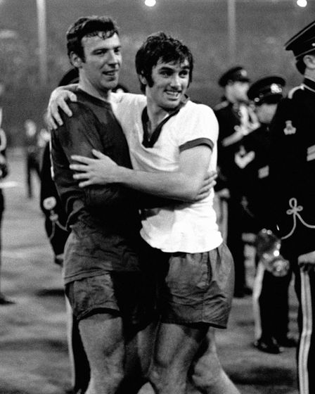 File photo dated 29-05-1968 of Manchester United's David Sadler (left) and George Best celebrate win