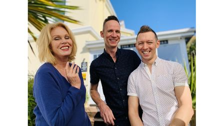 Picture of Joanna Lumley with owners of a B&B for TV show