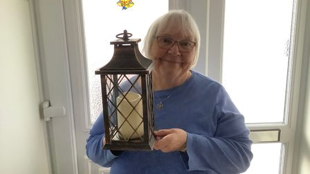 Honiton Memory Café co-ordinator Min Rennolds with her 'Florence Nightingale' lamp