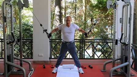 Russias President Vladimir Putin works out at a gym at the Bocharov Ruchei state residence in Sochi.