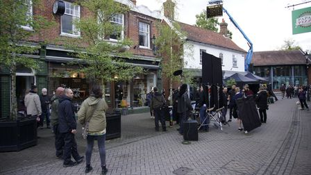 Crew filming Yesterday in Halesworth, Suffolk