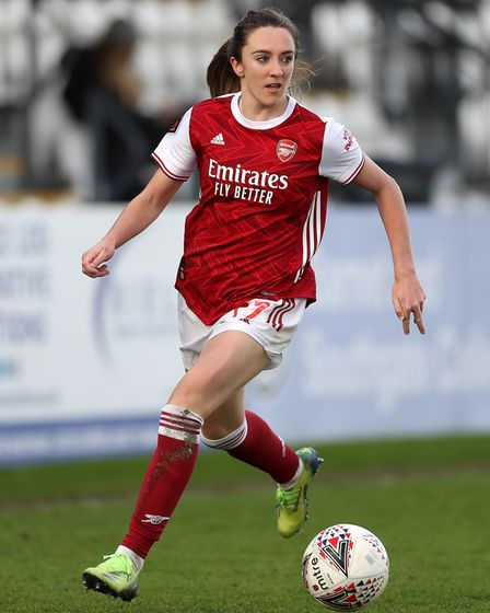 Arsenal's Lisa Evans in action during the FA Women's Super League match at the Meadow Park, London.