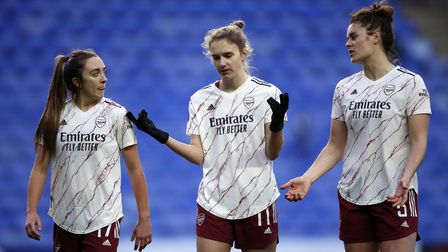 Arsenal's Lisa Evans, Vivianne Miedema and Jennifer Beattie react after the final whistle during the
