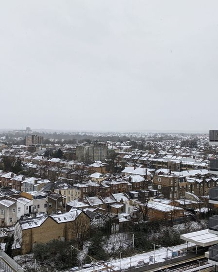 Snow covered roofs in Ilford.