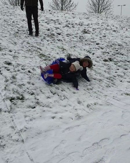 Sledging down the hills on the loop of Queens Hospital, things went a bit sideways!