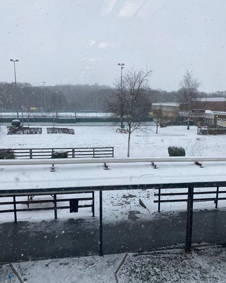 Bower Park Academy in the snow.