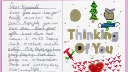 A hand written post card from a young person in Hackney