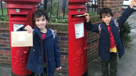 A young Hackney pirate delivers his postcard.