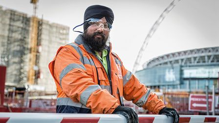 A construction worker in Wembley