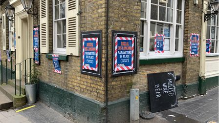 Social distancing signs outside the William IV pub in Hampstead,whosecreperie, along withLa Creperie de Hampstead, was...