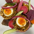 Spiced Vegetarian Scotch Egg with mango chutney by Nick Male.