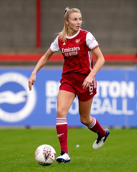 Arsenal's Leah Williamson during the FA Women's Super League match at the Broadfield Stadium, Bright