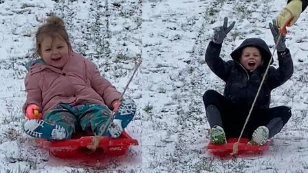 Sledging in Hornchurch Country Park.