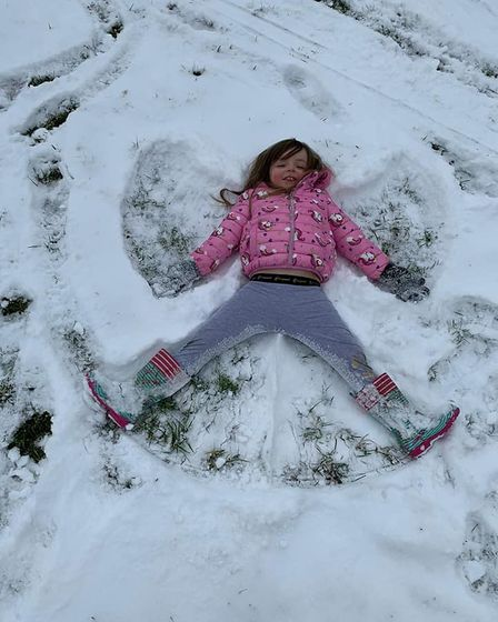 Elodie the snow angel, Bedfords Country Park.