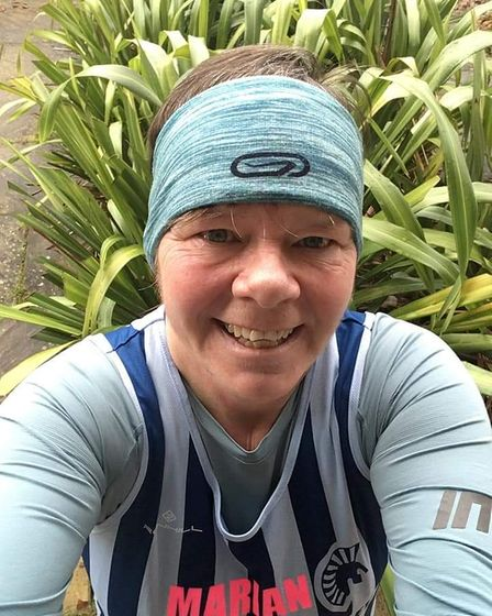 Marion Morley in her Fairlands Valley Spartan kit for February's stripey Saturday.