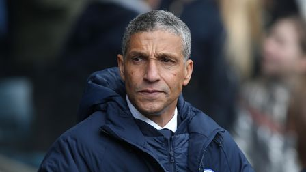 Chris Hughton, now manager of Nottingham Forest pictured when he was manager of Brighton & Hove Albion during the Emirates...