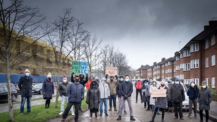 Angry residents of Beaufort Park demand protection from the pollution of the North Circular Road.