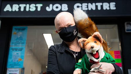 Gail Porter and Basil Brush at Stuart Semple's installation Artist Job Centre, in Neal Street, in October