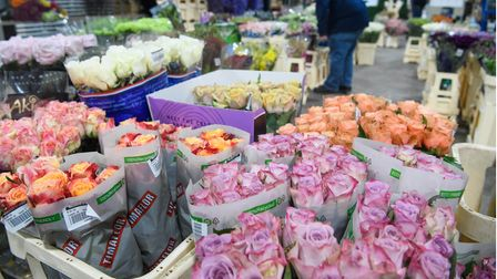 Stalls at New Covent Garden Flower Market in the run-up to Valentine's Day