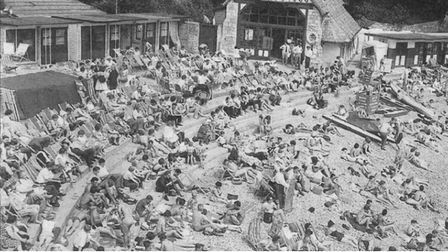 Beacon Cove in 1960 - packed with people enjoying a day at the seaside