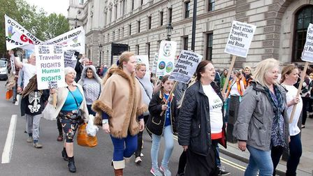 Campaigners march on Westminster in support of the Romani community. Photograph: The Traveller Movem