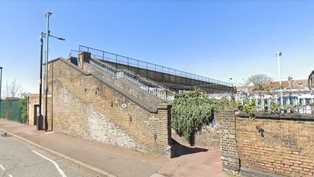 The footbridge over the railway line from Southend Road, East Ham. Picture: Google