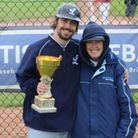 Tanya Cramman with her son Jon, after he coached the London Mets adult team to success in Britain's National Baseball League